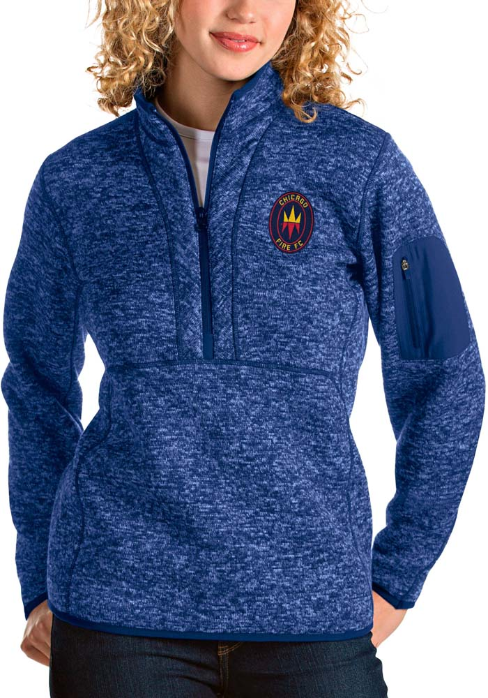 Antigua Chicago Fire Womens Blue Fortune 1/4 Zip Pullover - Image 1