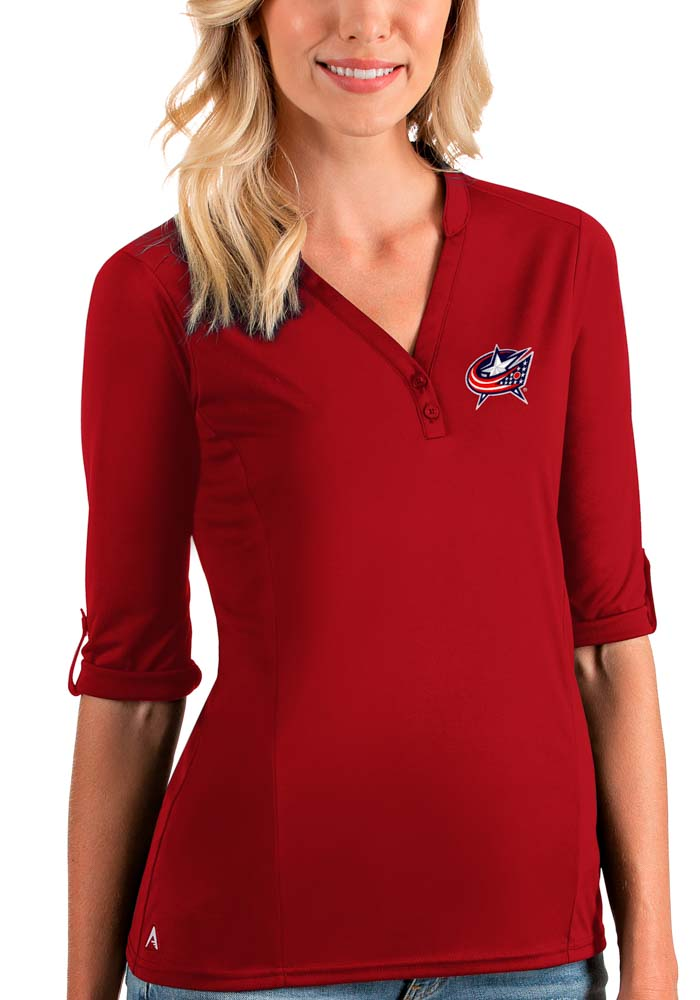 Antigua Columbus Blue Jackets Womens Red Accolade LS Tee - Image 1
