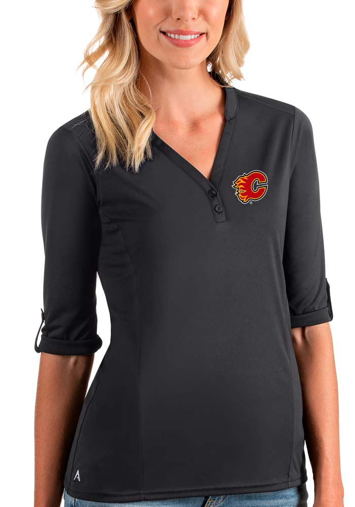 Antigua Calgary Flames Womens Grey Accolade LS Tee - Image 1