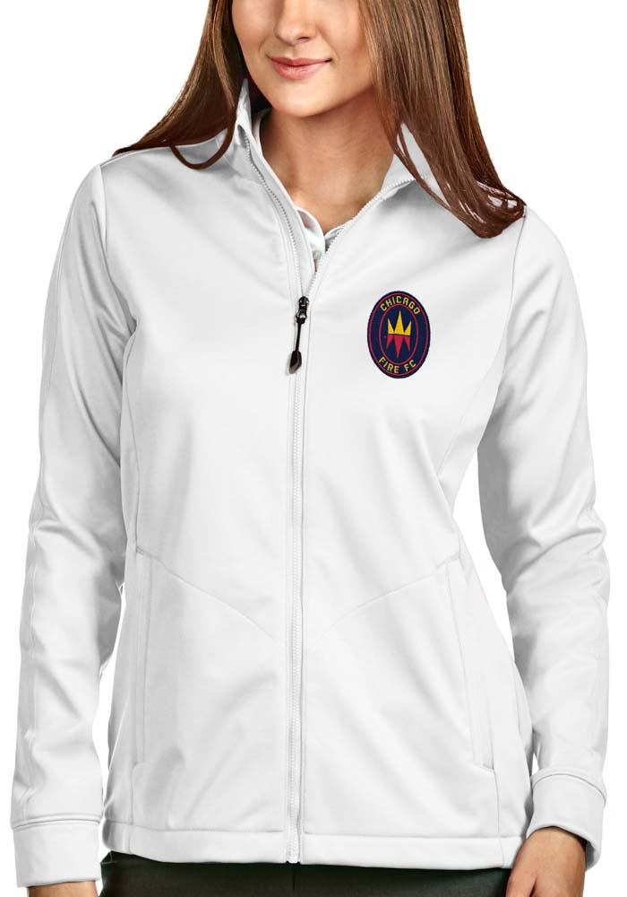 Antigua Chicago Fire Womens White Golf Heavy Weight Jacket - Image 1