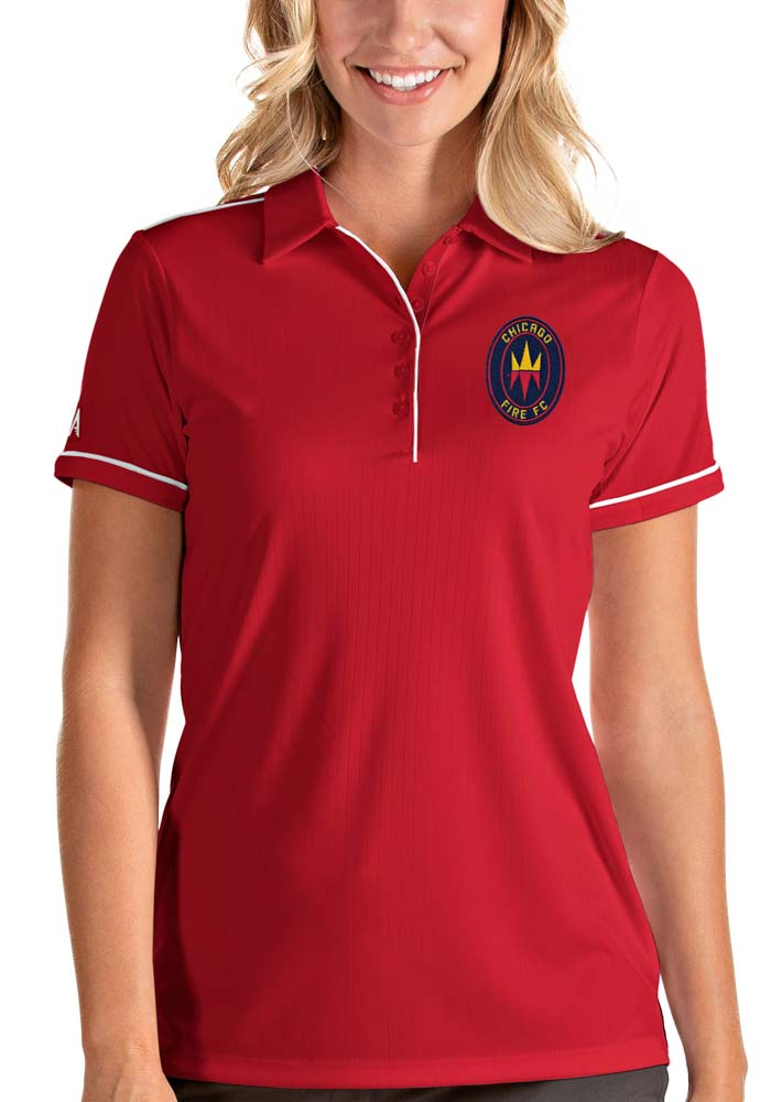Antigua Chicago Fire Womens Red Salute Short Sleeve Polo Shirt - Image 1