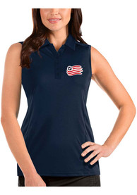 New England Revolution Womens Antigua Tribute Sleeveless Tank Top - Navy Blue