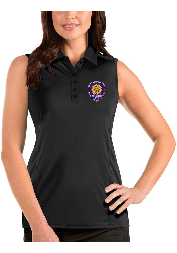 Antigua Orlando City SC Womens Black Tribute Sleeveless Tank Top - Image 1