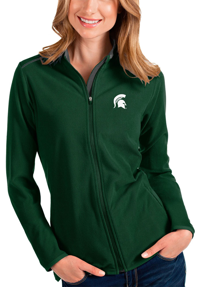 Antigua Michigan State Spartans Womens Green Glacier Light Weight Jacket - Image 1