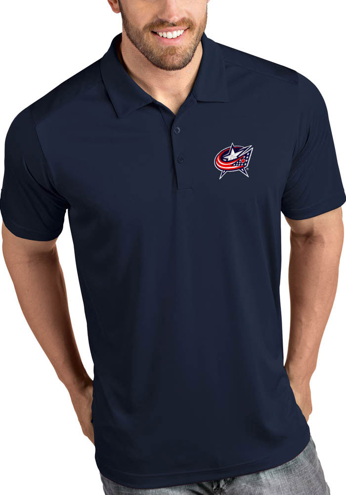 Antigua Columbus Blue Jackets Mens Navy Blue Tribute Short Sleeve Polo - Image 1