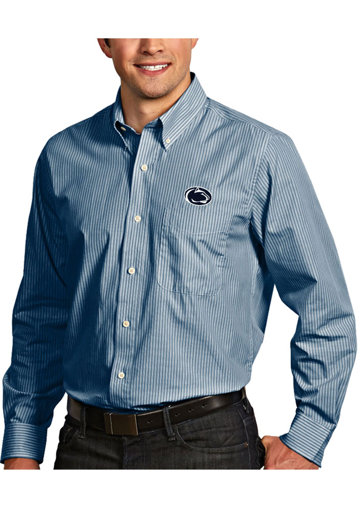 Antigua Penn State Nittany Lions Mens Navy Blue Republic Long Sleeve Dress Shirt - Image 1