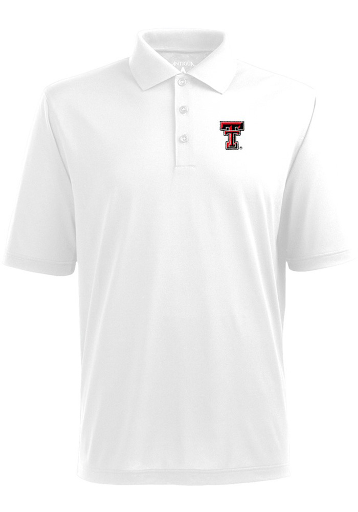 Antigua Texas Tech Red Raiders Mens White Pique Short Sleeve Polo - Image 1