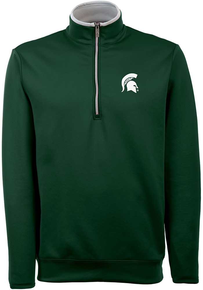 Antigua Michigan State Spartans Mens Green Leader Long Sleeve 1/4 Zip Pullover - Image 1