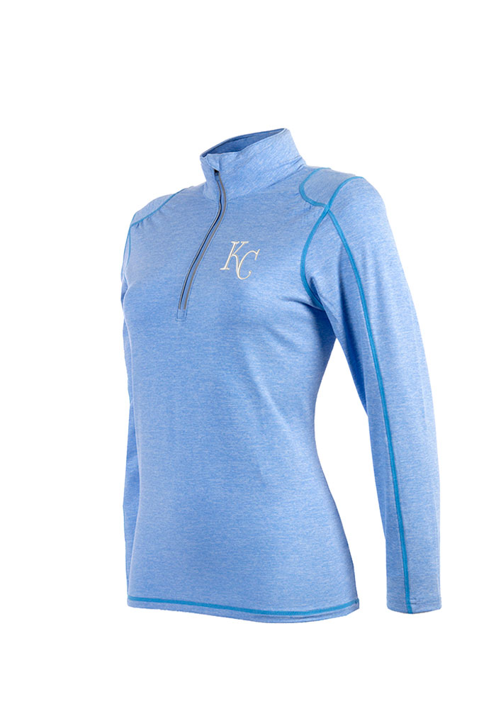 Antigua KC Royals Womens Light Blue Brio 1/4 Zip Pullover - Image 1
