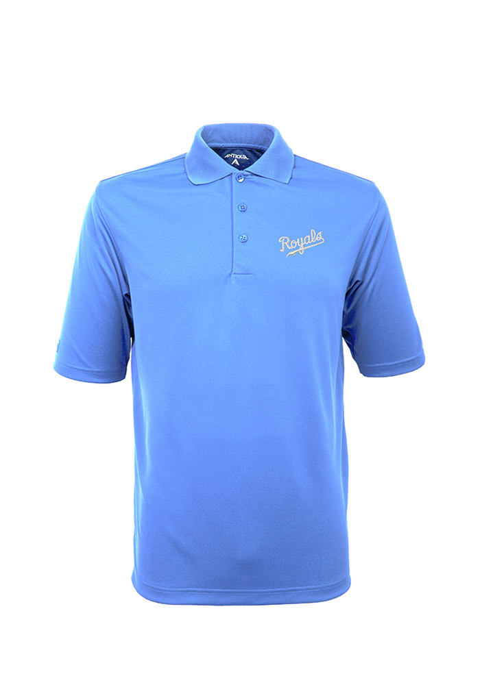 Antigua Kansas City Royals Mens Light Blue Exceed Short Sleeve Polo - Image 1