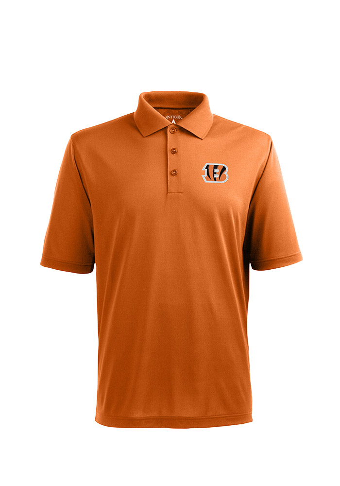 Antigua Cincinnati Bengals Mens Orange Pique Short Sleeve Polo - Image 1