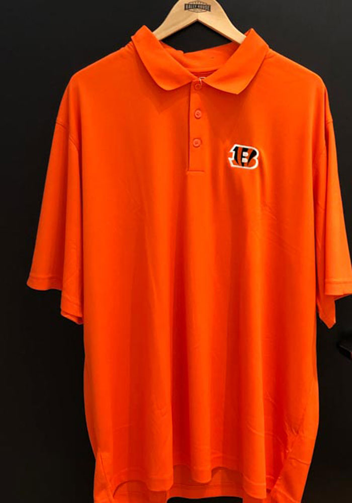 Antigua Cincinnati Bengals Mens Orange Pique Short Sleeve Polo - Image 2