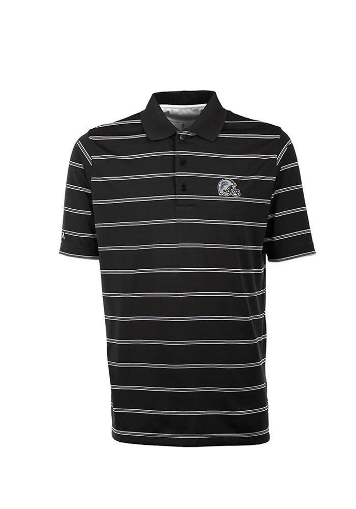 Antigua Detroit Lions Mens Black Deluxe Short Sleeve Polo - Image 1