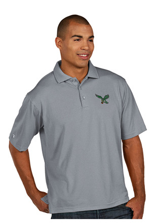 Antigua Philadelphia Eagles Mens Grey Short Sleeve Polo Shirt