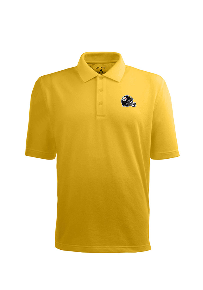 Antigua Pittsburgh Steelers Mens Gold Pique Short Sleeve Polo - Image 1