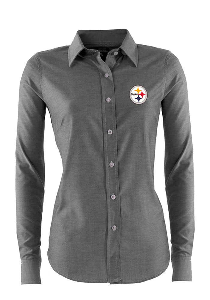 finest selection c2404 190b7 Antigua Pittsburgh Steelers Womens Sharp Long Sleeve Black Dress Shirt