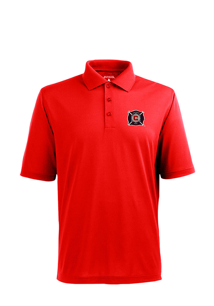 Antigua Chicago Fire Mens Red Pique Short Sleeve Polo - Image 1