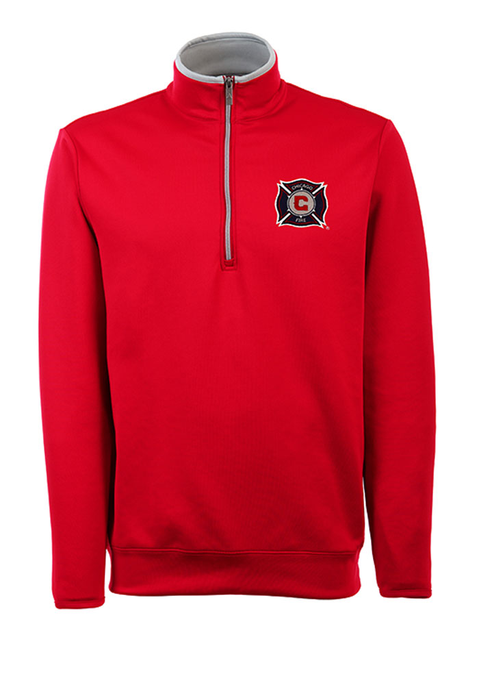 Antigua Chicago Fire Mens Red Leader Long Sleeve 1/4 Zip Pullover - Image 1