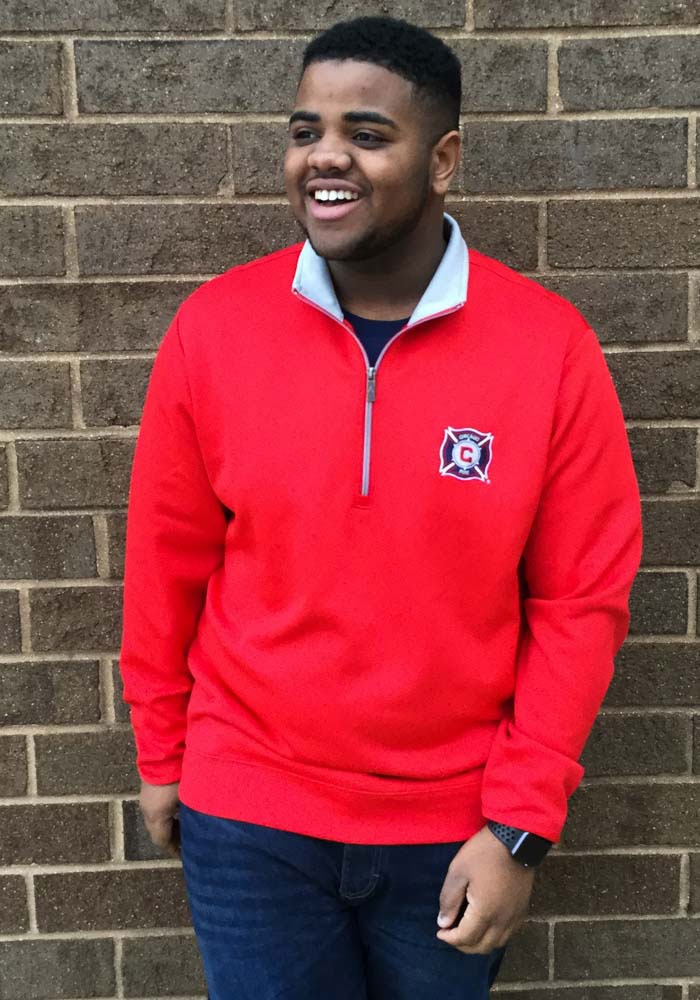 Antigua Chicago Fire Mens Red Leader Long Sleeve 1/4 Zip Pullover - Image 2
