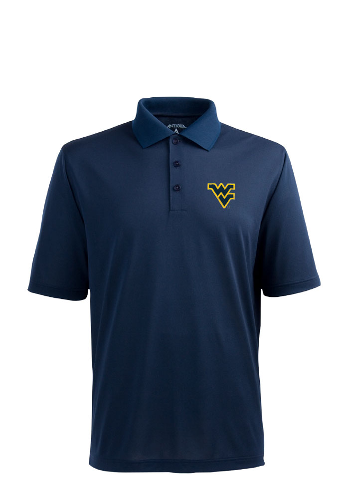 Antigua West Virginia Mountaineers Mens Navy Blue Pique Short Sleeve Polo - Image 1