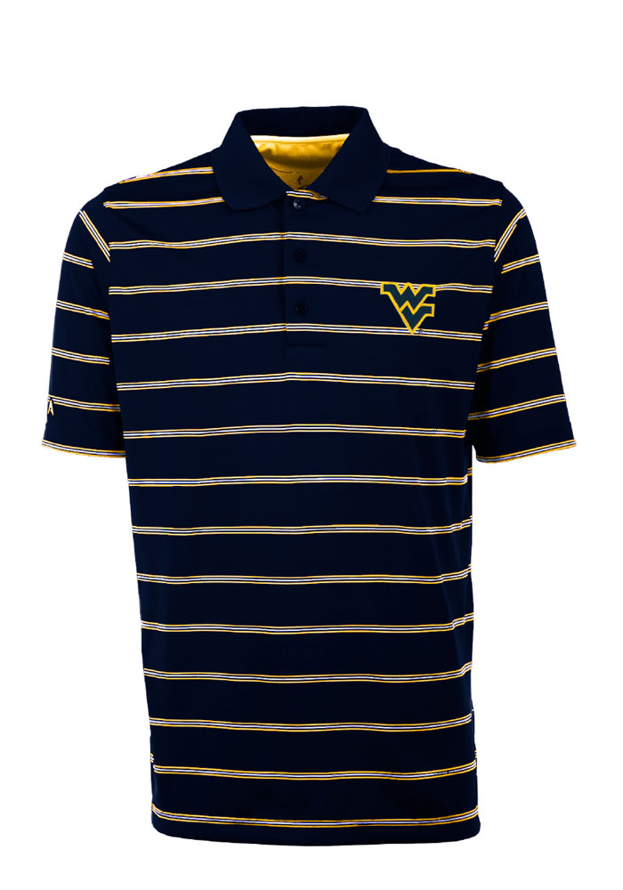 Antigua West Virginia Mountaineers Mens Navy Blue Deluxe Short Sleeve Polo - Image 1