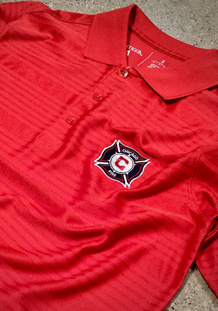 Antigua Chicago Fire Mens Red Illusion Short Sleeve Polo - Image 2