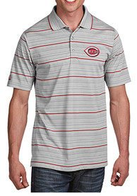 Antigua Cincinnati Reds Grey Gravity Short Sleeve Polo Shirt