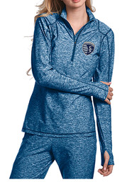 Antigua SKC Womens Chant Light Blue 1/4 Zip Performance Pullover