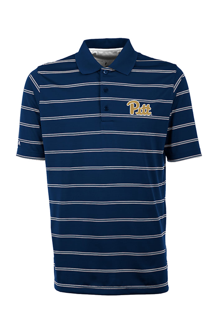 Antigua Pitt Panthers Mens Navy Blue Deluxe Short Sleeve Polo - Image 1