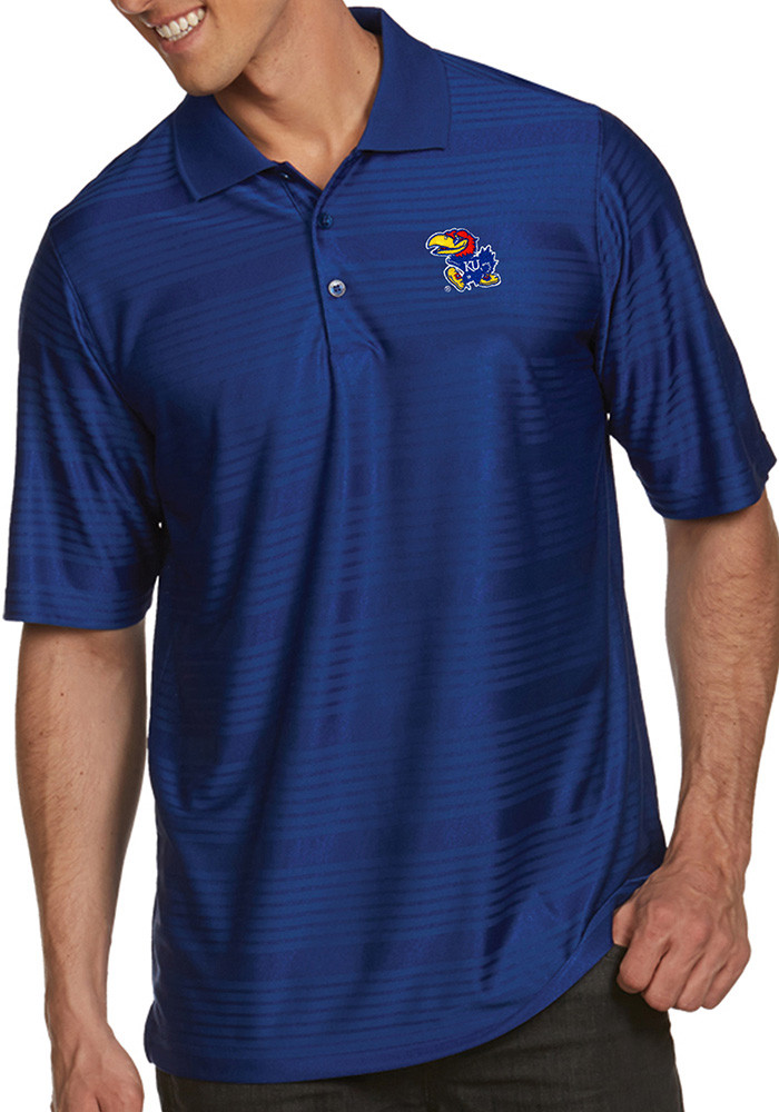 Antigua Kansas Jayhawks Mens Blue Illusion Short Sleeve Polo - Image 1