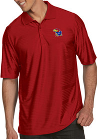 Antigua Kansas Jayhawks Red Illusion Short Sleeve Polo Shirt