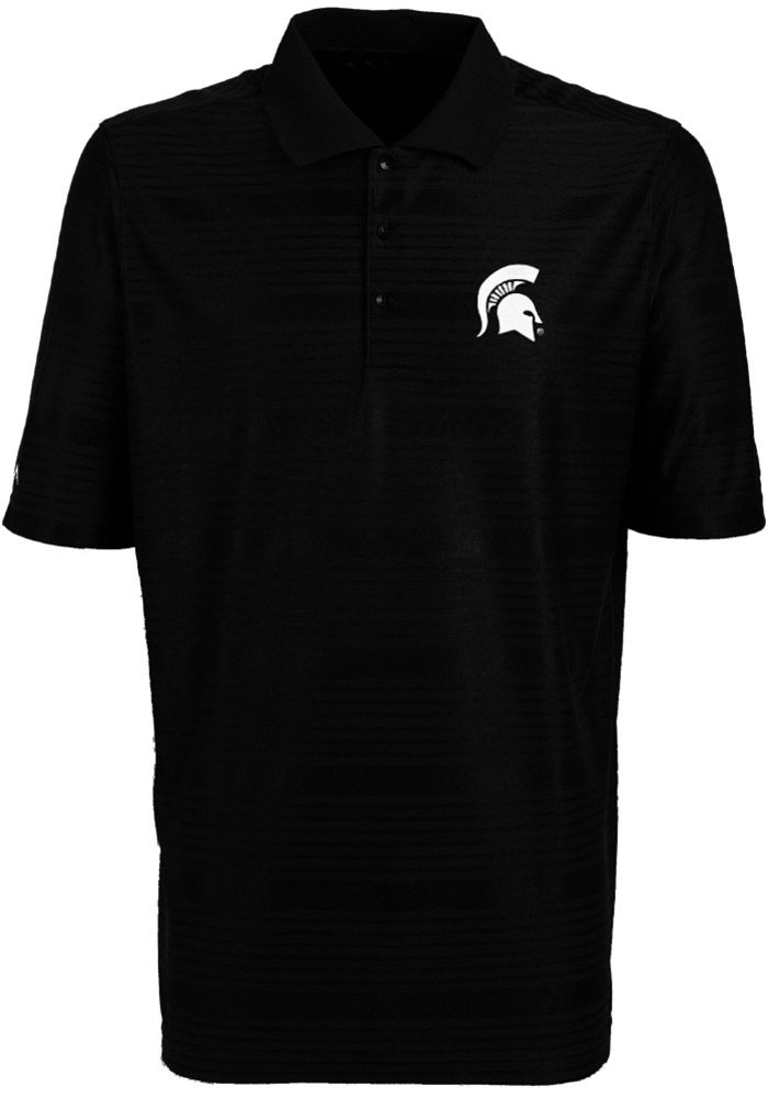 Antigua Michigan State Spartans Mens Black Illusion Short Sleeve Polo - Image 1