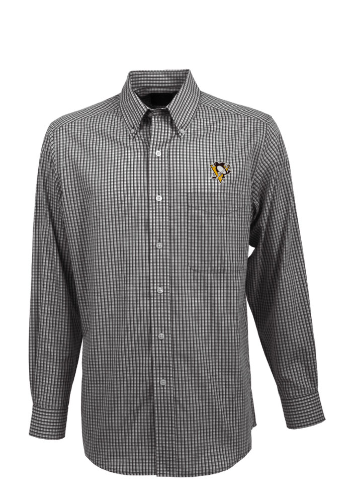 Antigua Pittsburgh Penguins Mens Black Associate Long Sleeve Dress Shirt - Image 1