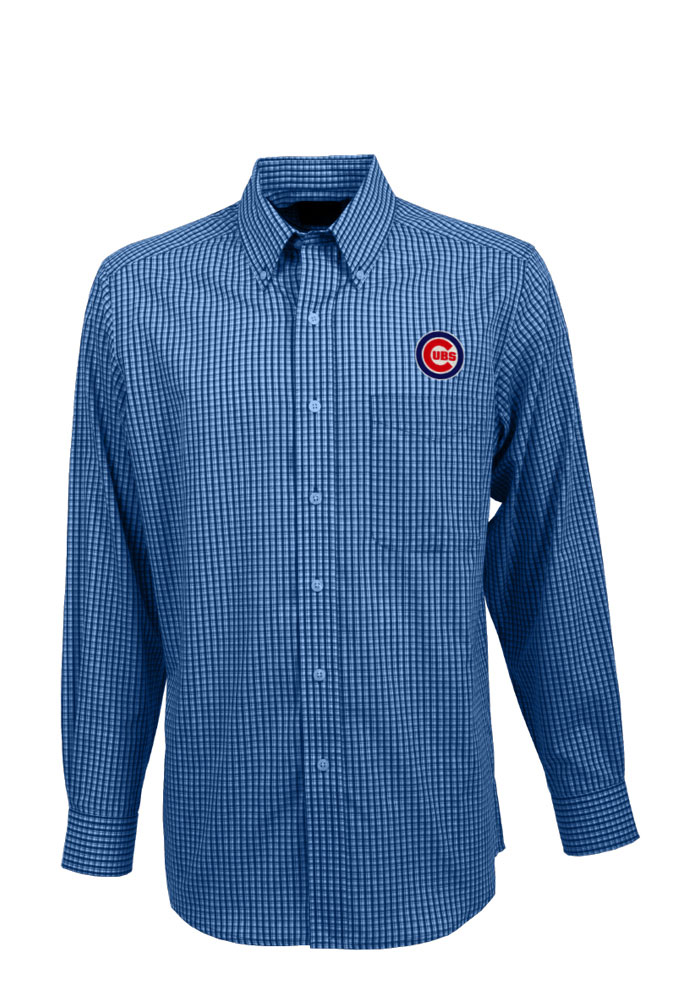 Antigua Chicago Cubs Mens Blue Associate Long Sleeve Dress Shirt - Image 1