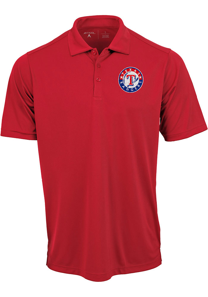 Antigua Texas Rangers Mens Red Tribute Short Sleeve Polo - Image 1