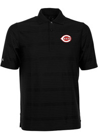 Antigua Cincinnati Reds Black Illusion Short Sleeve Polo Shirt