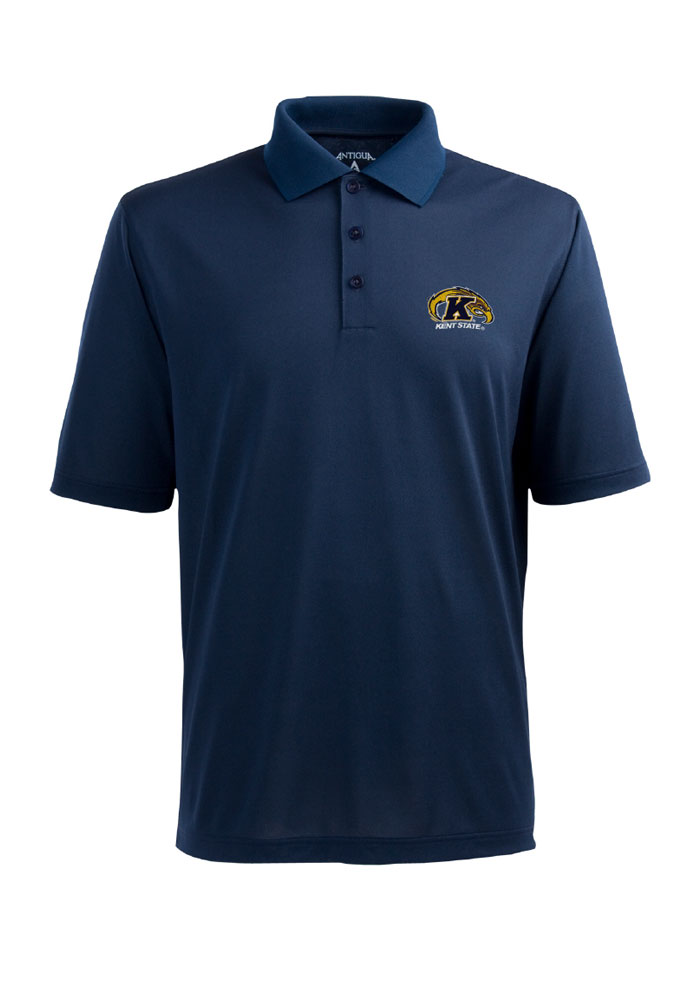 Antigua Kent State Golden Flashes Mens Navy Blue Pique Short Sleeve Polo - Image 1
