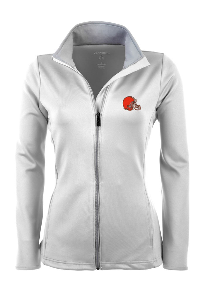 Antigua Cleveland Browns Womens White Leader Light Weight Jacket - Image 1