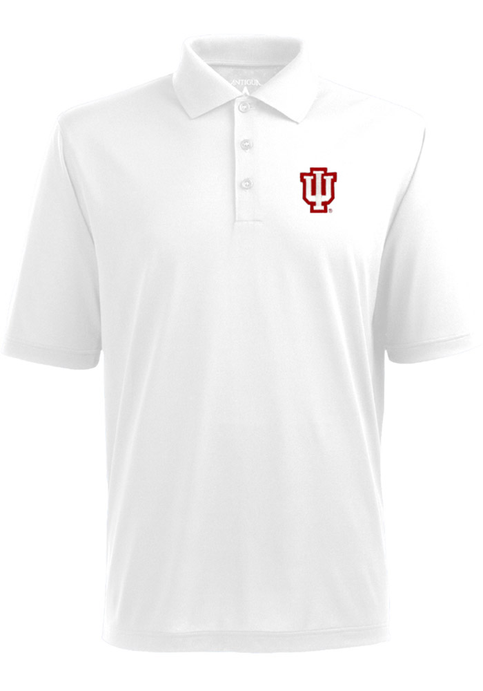 Antigua Indiana Hoosiers Mens White XTra Lite Short Sleeve Polo - Image 1