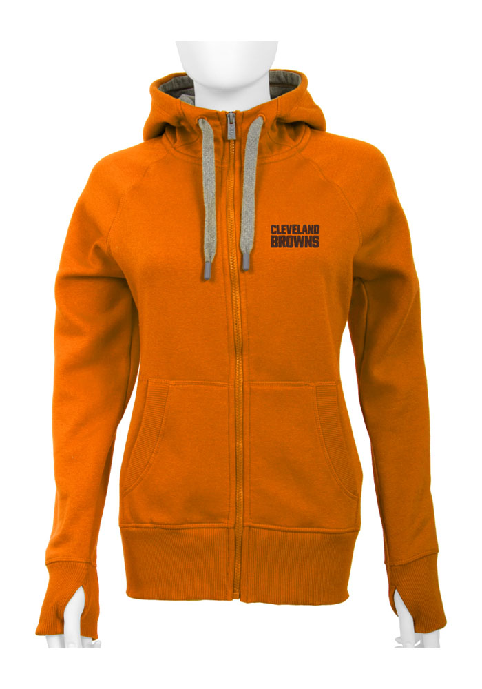 Antigua Cleveland Browns Womens Orange Victory Long Sleeve Full Zip Jacket - Image 1