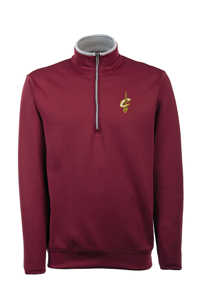 Antigua Cleveland Cavaliers Mens Red Leader Long Sleeve 1/4 Zip Pullover - Image 1