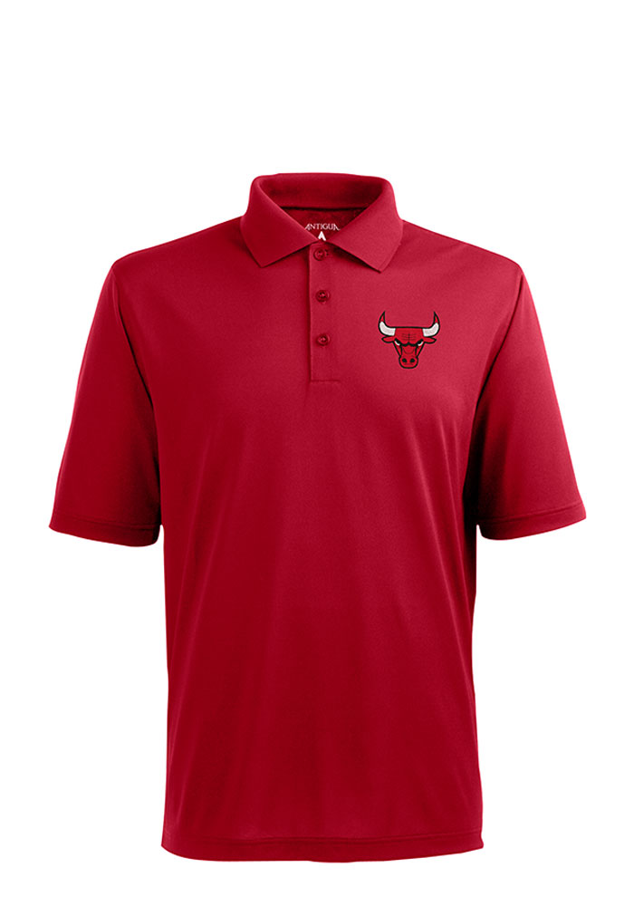 Antigua Chicago Bulls Mens Red Pique Short Sleeve Polo - Image 1