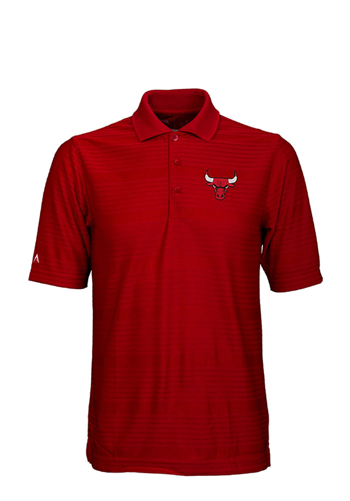 Antigua Chicago Bulls Mens Red Illusion Short Sleeve Polo - Image 1