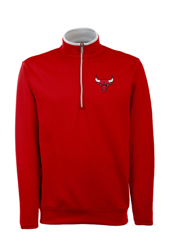 Antigua Chicago Bulls Mens Red Leader Long Sleeve 1/4 Zip Pullover - Image 1