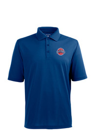Antigua Detroit Pistons Blue Pique Short Sleeve Polo Shirt