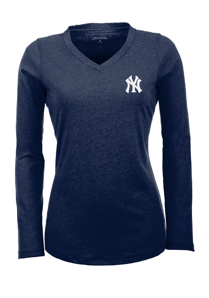 Antigua New York Yankees Womens Grey Flip Long Sleeve Women's V-Neck - Image 1