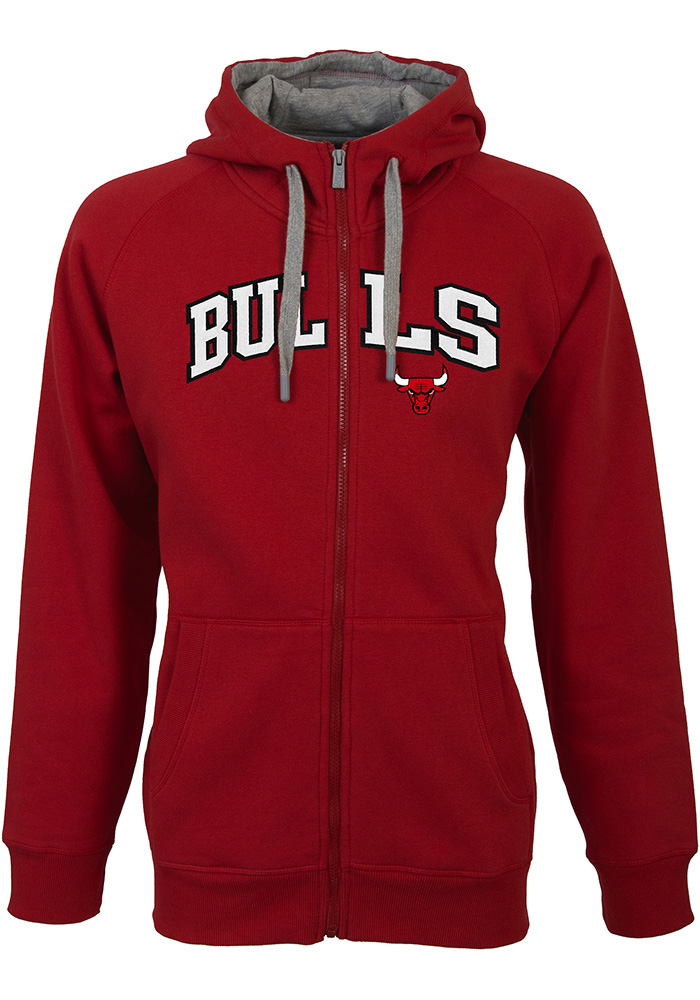 Antigua Chicago Bulls Mens Red Victory Full Zip Jacket
