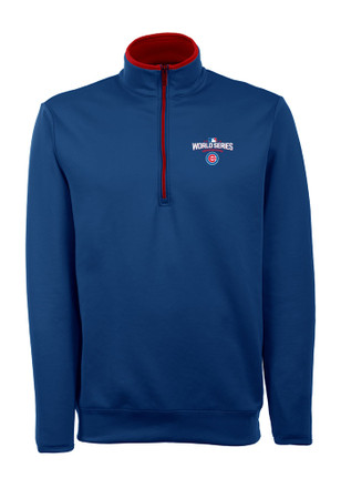 Antigua Chicago Cubs Mens Blue Leader 1/4 Zip Pullover
