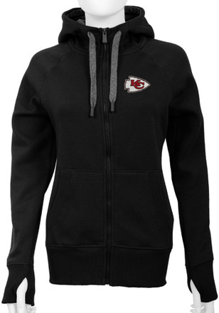 Antigua KC Chiefs Womens Black Victory Full Zip Jacket