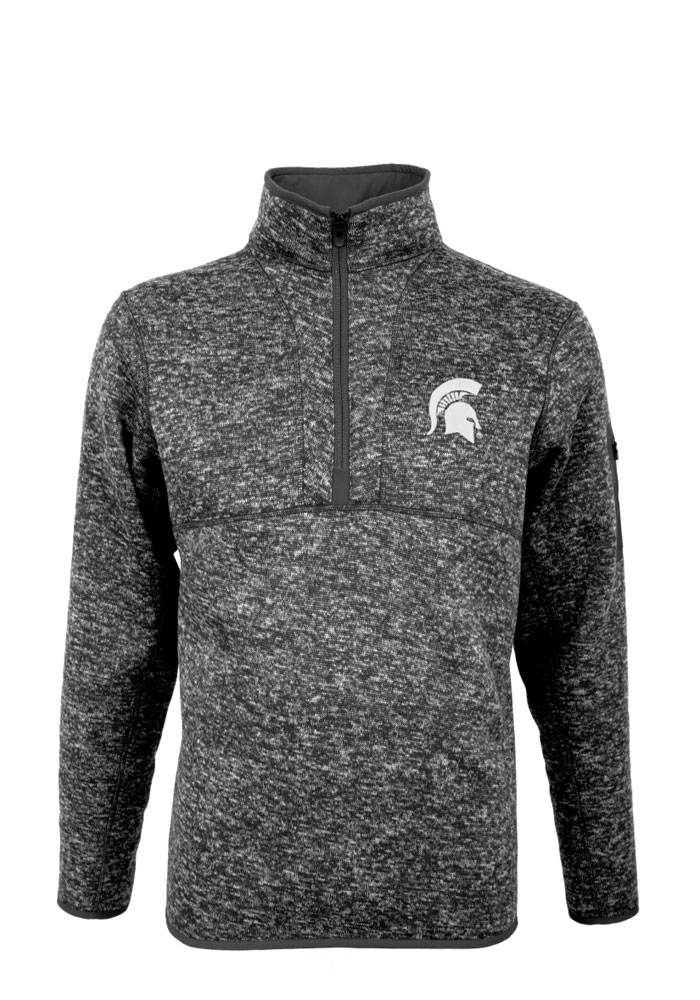Antigua Michigan State Spartans Mens Grey Fortune Long Sleeve 1/4 Zip Pullover - Image 1